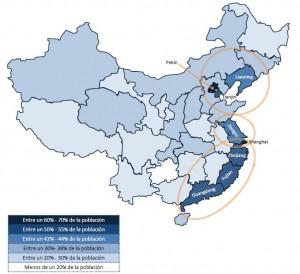 Porcentaje de población con acceso a Internet en China por provincia