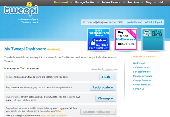 tweepi dashboard